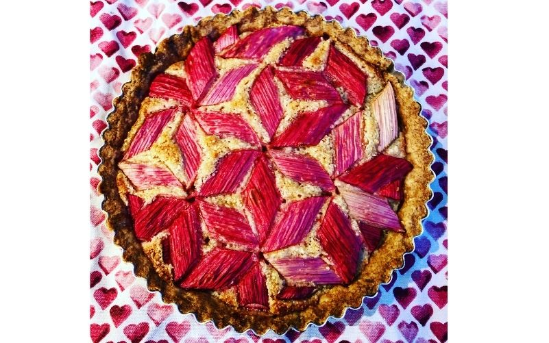 Rhubarb and Frangipani Geometric Tart